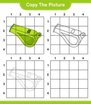 Скопируйте картинку скопируйте картинку свисток, используя линии сетки обучающая детская игра