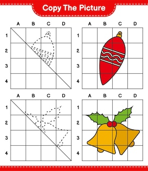 グリッド線を使用して、クリスマスライトとクリスマスベルの絵教育ワークシートゲームをコピーします