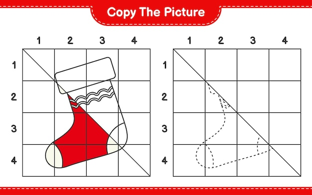 グリッド線を使用してクリスマスの靴下の絵教育ワークシートゲームをコピーします