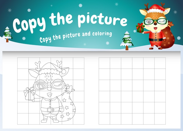산타 의상을 사용하여 귀여운 사슴과 함께 그림 키즈 게임 및 색칠 공부 페이지를 복사하십시오.