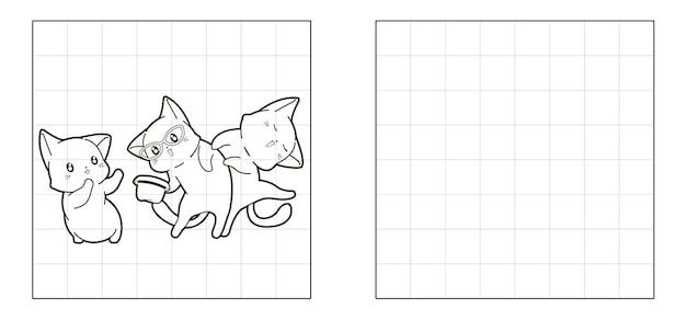 3匹の猫の漫画の写真をコピーする