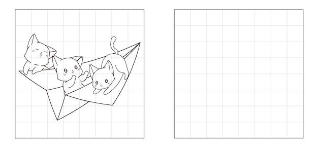 紙飛行機の漫画に3匹の猫の写真をコピーする