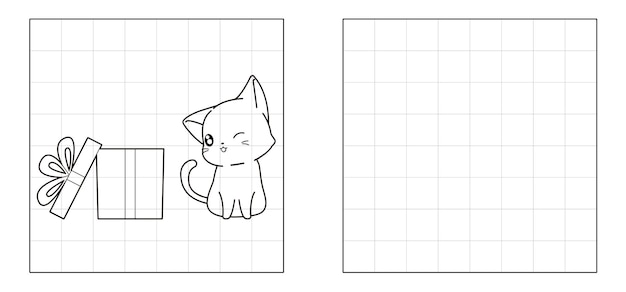ギフトボックスの漫画で猫の写真をコピーする