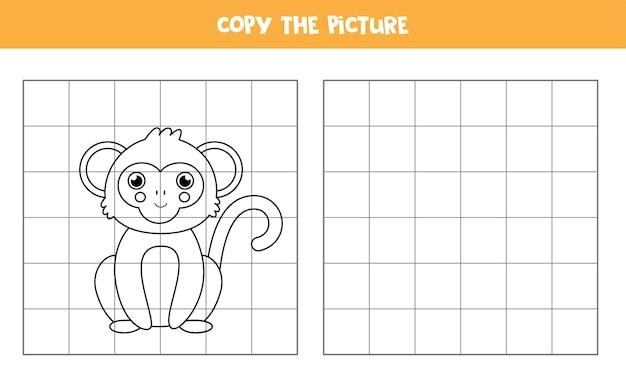 귀여운 원숭이의 사진을 복사하십시오. 아이들을위한 교육 게임. 필기 연습.