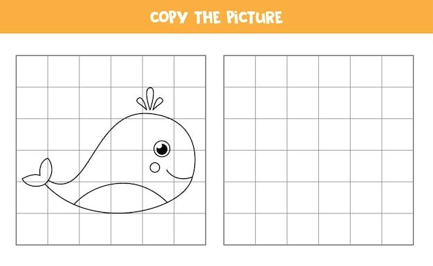 귀여운 고래의 사진을 복사합니다. 아이들을위한 교육 게임. 필기 연습.