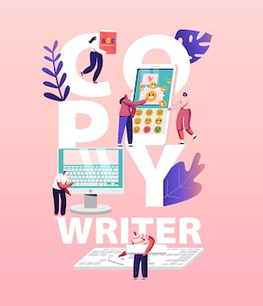 Copy writer work illustration. online journalist characters write creative copyright for social article