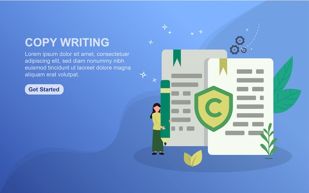 Copy writing landing page template. flat design concept of web page design for website.