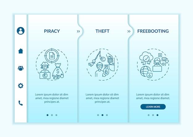 Типы нарушений авторских прав на посадку векторных шаблонов. адаптивный мобильный сайт с иконками. веб-страница прохождение 3-х шаговых экранов. незаконное копирование, цветовая концепция плагиата с линейными иллюстрациями