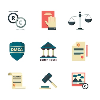 Copyright icons. business company legal law quality administration policy regulations compliance  flat colored symbols