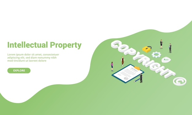 Copyright or intellectual property for website template landing homepage or banner with isometric style