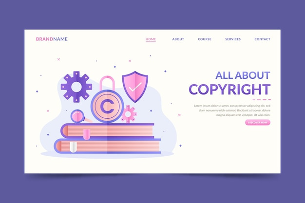 Copyright landing page template with books and lock