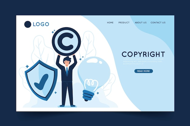 Copyright landing page template with illustration
