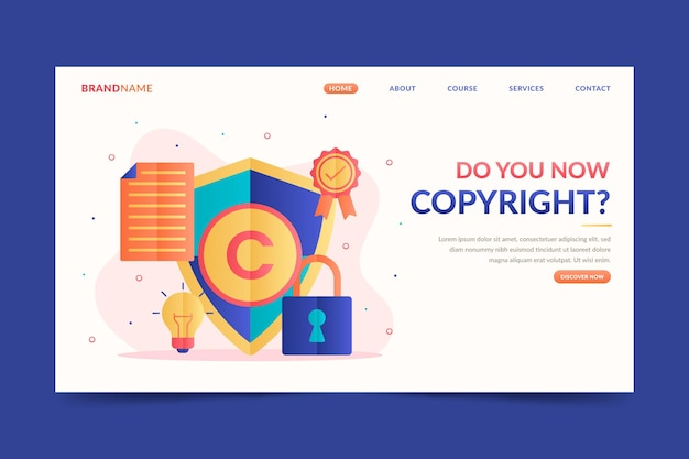 Copyright landing page template with lock