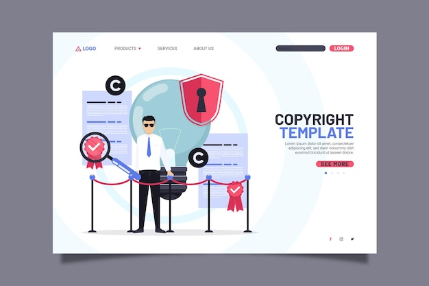 Copyright landing page template with man and lock