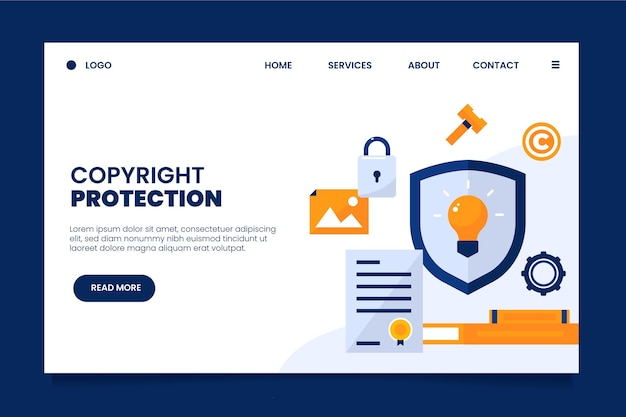 Copyright landing page with shield