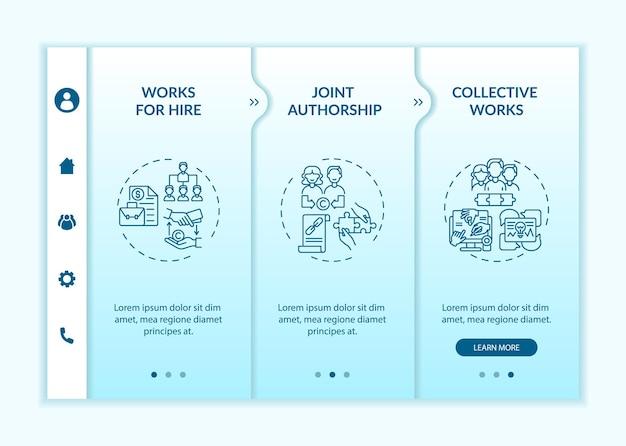 Специальные принципы авторского права на борту вектор шаблон. адаптивный мобильный сайт с иконками. веб-страница прохождение 3-х шаговых экранов. коллективная цветовая концепция с линейными иллюстрациями