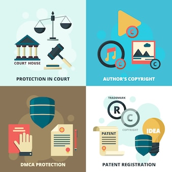 Copyright legal icons set