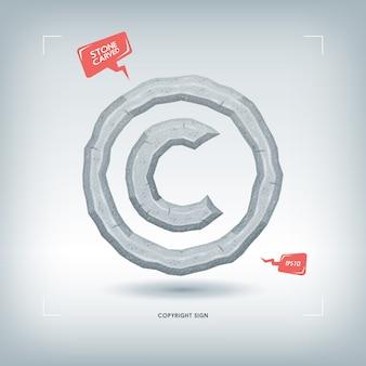 Знак авторского права. каменный резной элемент шрифта. иллюстрации.