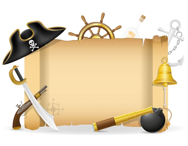 Пиратский плакат с copyspace векторные иллюстрации