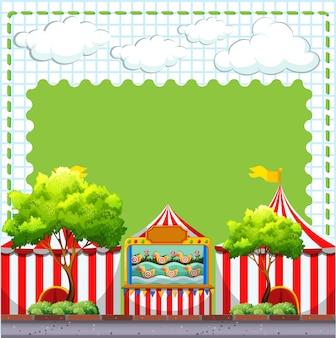 Граничный дизайн с игрой в цирке с copyspace