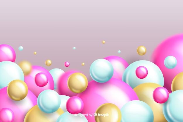 Copyspaceと現実的な流れるピンクボールの背景
