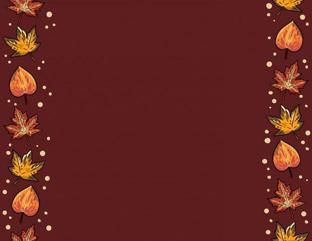 かわいい秋のカエデとポプラの葉のシームレスなパターン。 copyspaceと秋の装飾フレームの背景