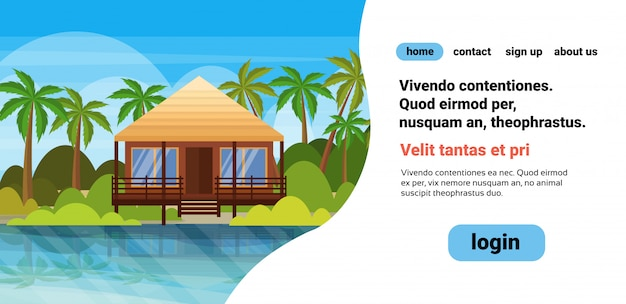 Тропический остров вилла бунгало отель на пляже побережье зеленые пальмы пейзаж летние каникулы квартира copyspace