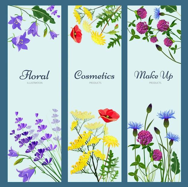 野の花のバナー。 copyspace異なるハーブの花アロマセラピー製品自然医学写真と花のフレーム