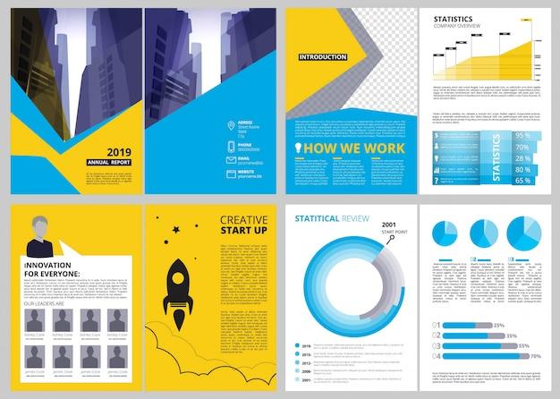 Страницы годового отчета. современный макет брошюры с абстрактными формами и бизнес-презентацией copyspace
