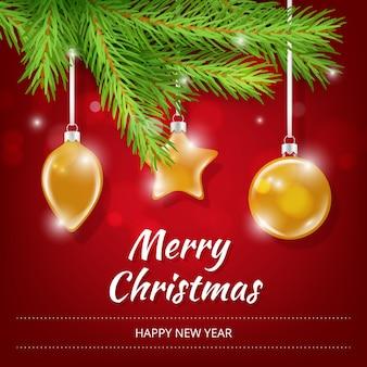 新年ポスター招待状。冬の休日現実的なクリスマス透明ガラスおもちゃボールギフトグリーンツリープラカードcopyspace