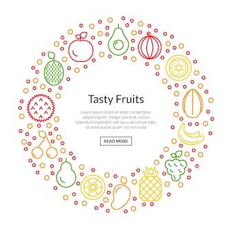 Иконки линии фруктов в форме круга с иллюстрацией copyspace