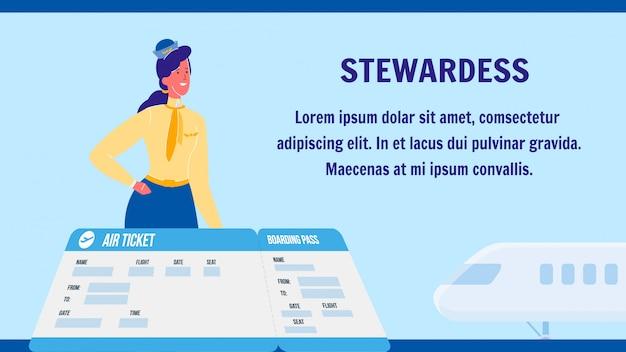 Стюардесса векторный макет веб-баннера с copyspace