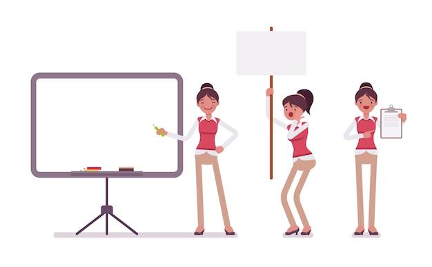 Набор молодых женщин офисный работник с рамками для copyspace