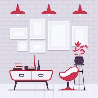 Ретро интерьер с красными лампами, рамки для copyspace