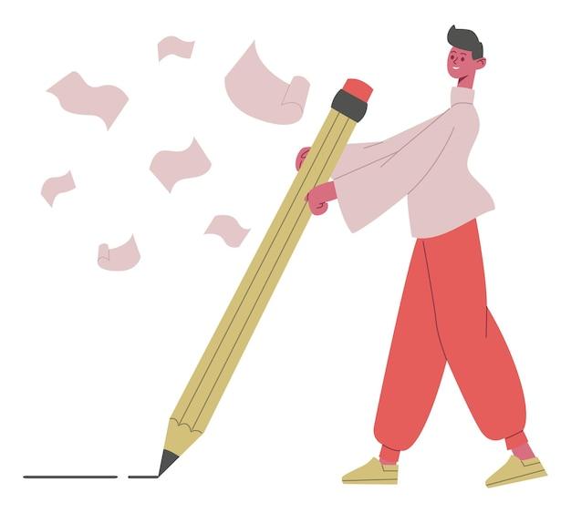 Копирайтер персонаж. писатель, журналисты или блоггер-мужчина, пишущий с большой иллюстрацией вектора карандаша. творческая концепция рассказывания историй. автор иллюстраций и журналист, копирайтер и редактор