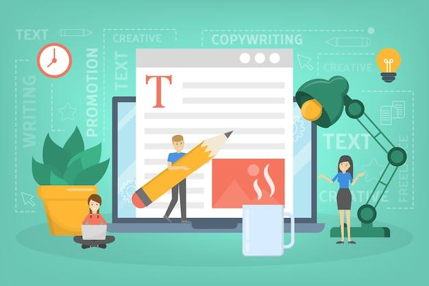 コピーライターのコンセプト。テキスト、創造性、プロモーションを書くアイデア。貴重なコンテンツを作成し、フリーランサーとして活動しています。インターネットでのテキスト投稿。図