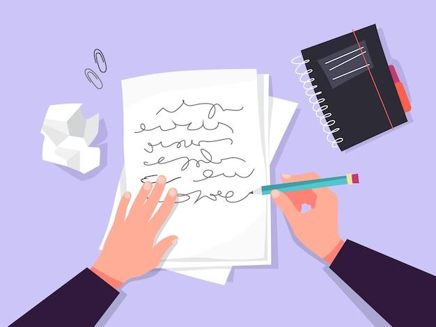 コピーライターのコンセプト。テキストを書くアイデア、創造性