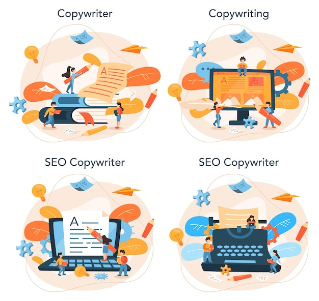 Copywriter concept set. idea of writing texts, creativity and promotion. making valuable content and working as freelancer.