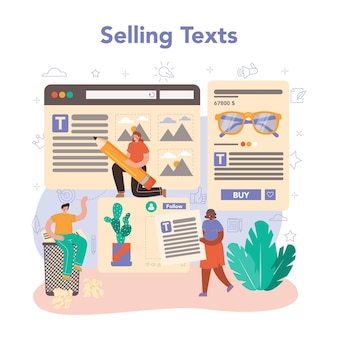 Copywriter concept writing and designing texts for business promotion