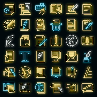 Набор иконок копирайтер. наброски набор копирайтер векторных иконок неонового цвета на черном