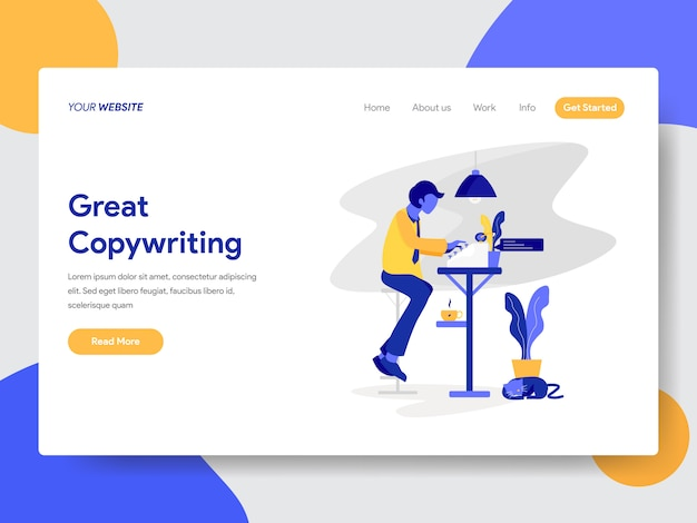 Copywriter illustration for web page