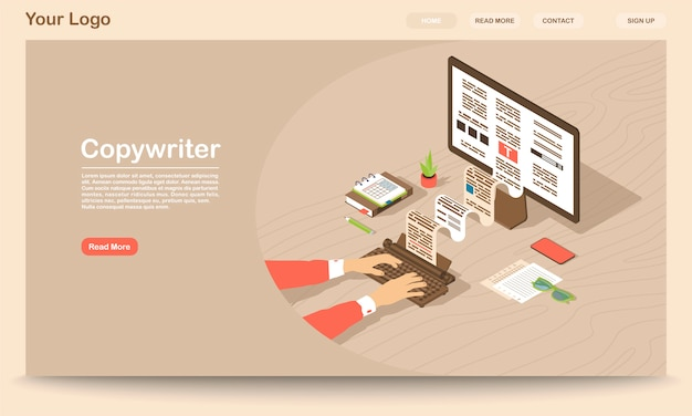 Copywriter landing page vector template
