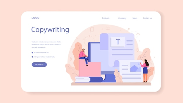 Copywriter web banner or landing page illustration in cartoon style