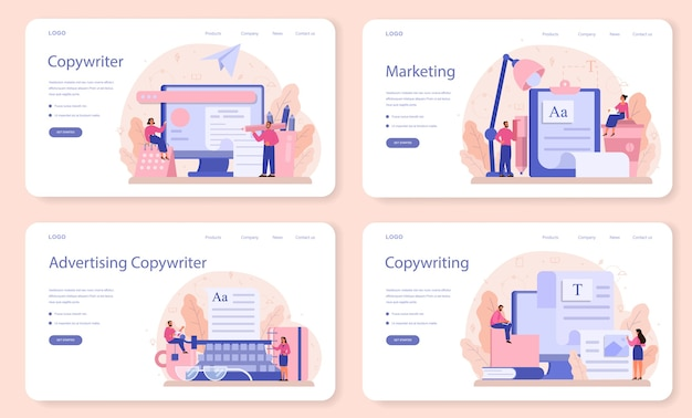 Copywriter web banner or landing page set