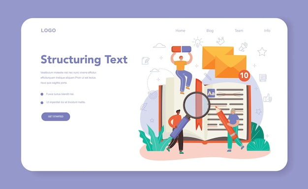 Copywriter web banner or landing page. writing and designing texts for business promotion or press release. finding information and making valuable content. vector flat illustration