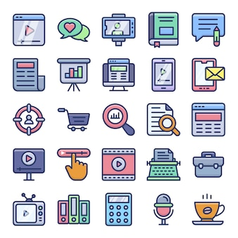 Copywriting and blogging flat icons pack