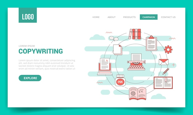 Copywriting concept with circle icon for website template