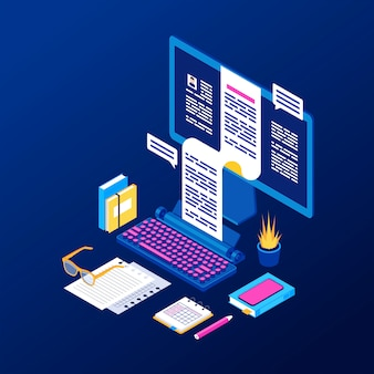 Copywriting, content creation isometric vector illustration