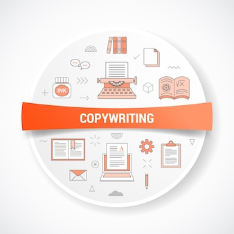 Copywriting or copywriter with icon concept with round or circle shape vector illustration