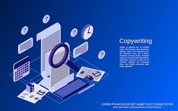 コピーライティング、編集、ジャーナリズム、出版物フラットアイソメトリックベクトルの概念図
